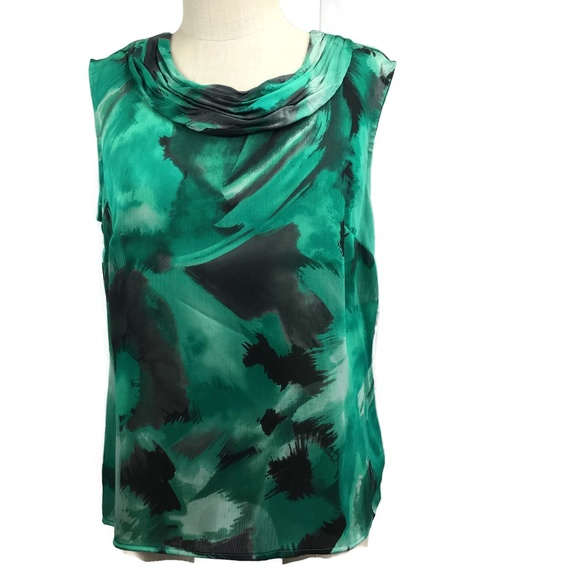 1fe5eaac882ef0 Kasper Tops | Green Watercolor Sleeveless Top Large | Poshmark